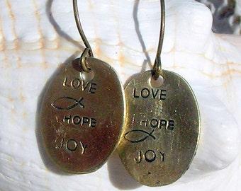 Handstamped Brass Earrings,Fish,Love, Hope,Joy,Jewelry