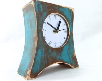NO TICKING Brown Turquoise Table clock, Wood clock for Desk, SILENT Wooden desk Clock Arrow, Rustic clock, Turquoise home decor, for Mom