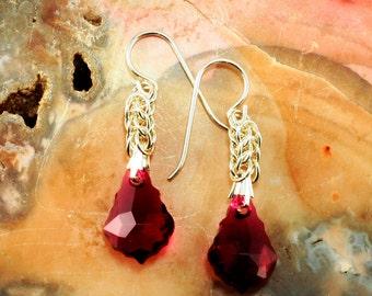 Earrings Ruby Swarovski Baroque Sterling Silver