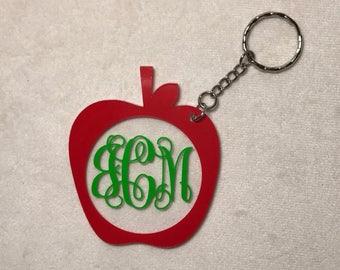 Personalized Apple Keychain, Teacher Gift, Teacher Keychain