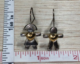 Vintage Earrings Boy Girl Man Woman With Gold Tone Heart Used