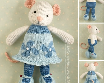 Toy knitting pattern for a girl mouse with a flowered and frilled dress