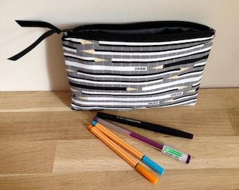 Pencil case / school cotton Kit and coton pencil case - gray, black and white