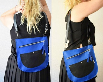Leather backpack,leather bag,convertible purse,blue leather purse,blue backpack,cobalt blue,leather purse,blue bag,backpack leather