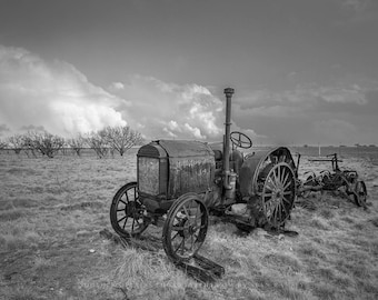 Black and White Photography Print - Fine Art Print of Old McCormick-Deering Tractor in Texas Field Rustic Wall Art Farm Equipment Artwork