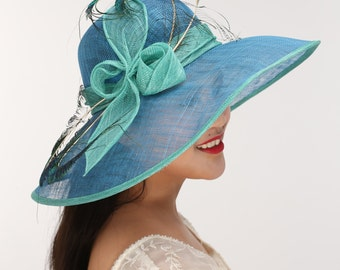 Blue with Turquoise Kentucky Derby Hat, Church Hat, Wedding Hat, Easter Hat, Tea Party Hat Wide Brim Woman's Sinamay  Hat