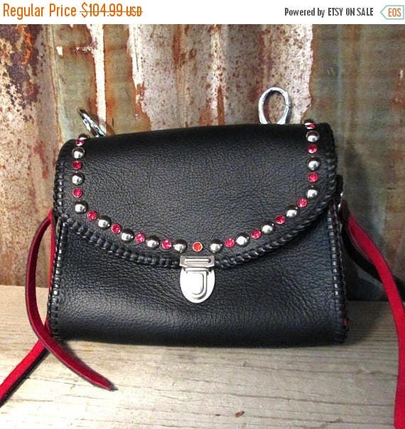 Red and Black Leather Adventure Bag