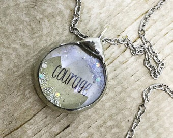 Courage Necklace, Inspirational Jewelry, Soldered Glass Bubble Charm Necklace, Courage Charm Necklace, Kyleemae Designs
