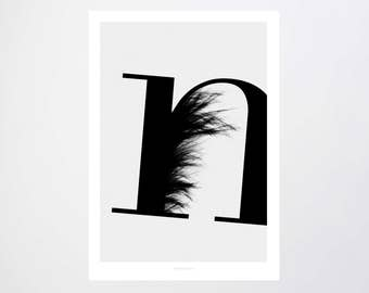 ABC Flying Letters - N / Typography Art, Kunstdruck Poster, Wall-Art