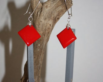 Contemporary red earrings