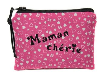 personalized MOM gift, mother's day, personalized Pink Hearts, fabric, women gift mini-pouch fabric purse