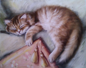 Sleeping cat Oil Painting Cat