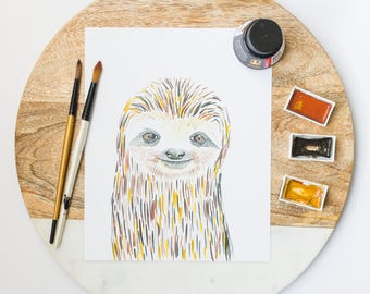 Sloth art print-sloth lover gift-sloth and baby-sloth gift for baby-sloth illustration-cute sloth-nursery decor-sloth home decor-sloth wall