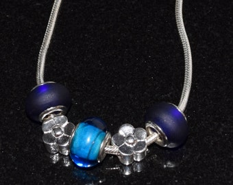 """THICK 3.5mm Sterling Silver Snake Chain 9"""" Anklet with Sterling Silver Flowers & Murano Glass"""
