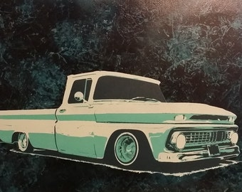Lowrider Vintage Truck Wall Art, Man Cave Wall Art, Garage Art, Lowrider Art, Gift For Him, C10 Painting, Graffiti Art