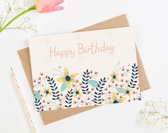 Birthday Card Floral Bright