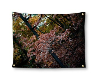 Fall Leaves Wall Tapestry, Tapestry Wall Hanging, Tree Tapestry, Autumn Photo Tapestry, Leaves Wall Hanging, Bohemian Nature Dorm Room Decor