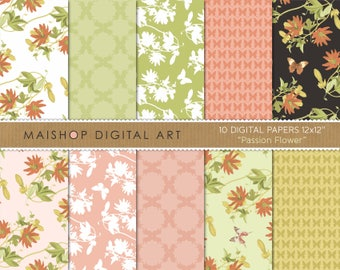 Digital Paper 'Passion Flower' Vine, Butterflies, Floral and Geometric Digital Patterns for Cards, Invitations, Crafts, Scrapbook...
