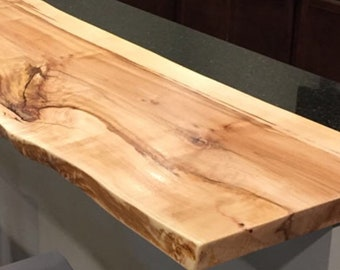 Live edge floating shelf - Maple wood 24 to 59 in)