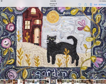 A Cat in the Garden rug hooking pattern