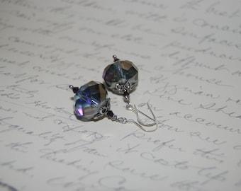 Gray , Purple Crystal Earrings