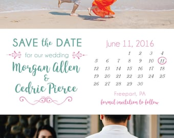 Save the Date Whimsical Save the Date Card Calendar Save the Date Sa