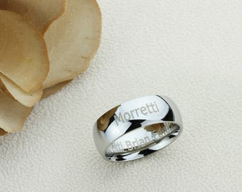 Personalized Outside Inside Custom Engraving Stainless Steel Wedding Band Promise Ring 8MM Polisheded Ring-XSTR08