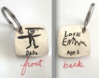 Double Sided Father's Day Gift - Your Child's Drawing of Daddy Key Fob or Pendant -Solid Silver- made to order