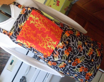 Red Black and Orange Motorcycle Print Full Bar B Que Chef Apron Flaming Hot Chopper One of a Kind and Ready to Ship
