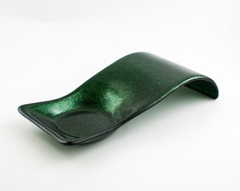 Green Spoon Rest, Stove or Countertop Decor, Pillar Candle Holder, Tabletop Decor, Utensil Holder, Unique Gifts for Cooking, Fused Glass