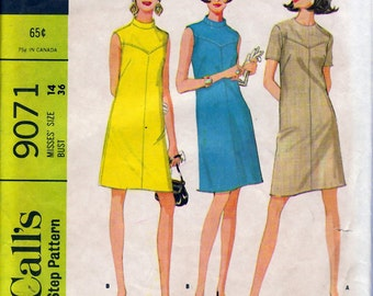 Bust 36-1967 Misses' Dress  McCall's 9071  Size 14