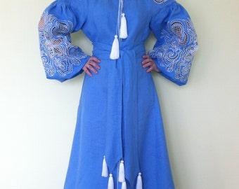 NEW! Boho Ukrainian Blue Linen Dress / vyshyvanka dress/ ukrainian embroidery/ Mexican dress /Ukrainian Embroidery/Folk/Arabian Thobe XS-4XL