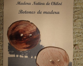 Button laminated rustic native wood of Meli made in Chiloé - Chile
