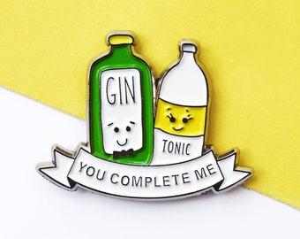 Enamel Gin Pin, Gin pin, Best Friend Gift, Gin Lover Gift, Gin & Tonic Gift, Gin o'Clock, Gin and Tonic, Enamel Badge, You Complete Me, Gin