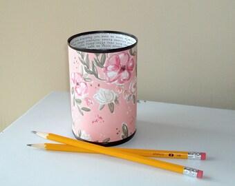 Salmon Pink Floral Desk Accessories for Women, Pencil Holder Cup, Desk Organizer, Makeup Brush Holder, Fun Dorm Decor, Coworker Gift 1098