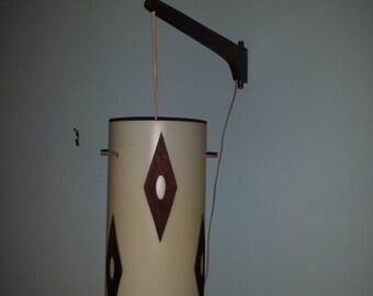 DANISH MODERN hanging swivel pendant LAMP plastic cylinder shade with wood diamonds 1950s