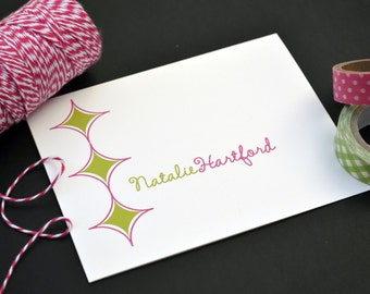 Personalized Stationery / Personalized Stationary / Personalized Note Cards / Stationery Set - Retro Diamond Design