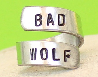 Bad Wolf Ring - Doctor Who Inspired -  - Personalized Ring - Adjustable Aluminum Wrap Ring.. Best Gift. Gift....