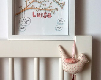customized birth ilustration. Includes baby's name, birth date, weight and heigth