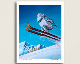 The Downhill Race - a skiing robot - Limited Edition Signed 8x10 Print (8/10)