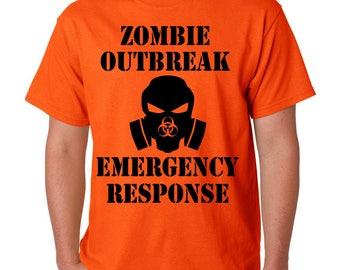 ZOMBIE OUTBREAK Emergency Response T-Shirt Halloween Costume Walking Dead Fear