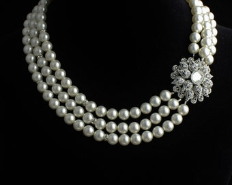 Bridal Pearl Necklace, Multi Strand Pearl Necklace, Deco Bridal Necklace, Ivory Pearl Bridal Jewelry, Pearl Wedding Necklace, ALLY