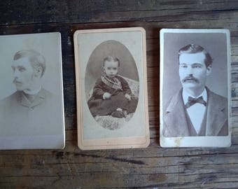 Vintage Photos Cabinet Cards Men Baby Collection Collage Mixed Media Scrapbook old Photo