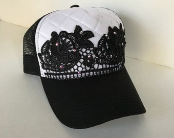Trucker Hats With Lace, Caps, Bling Hats, Womens Hats, Trucker, Black Trucker Hat, Venice Lace, Womens Hat
