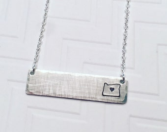 Oregon Necklace - Silver Bar Necklace - State Necklace - Home Necklace - Hand Stamped Necklace - Personalized Necklace - Gift For Her