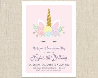 Unicorn Birthday Invitation, Unicorn Invitation, Magical Invitation