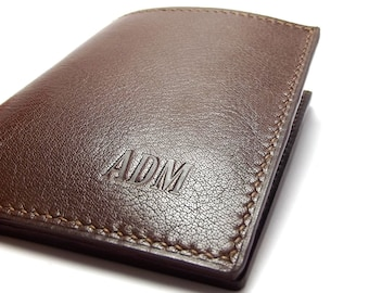 Mens Brown Leather Wallet / Personalized Monogrammed / Handmade by Sakao