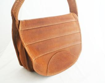 Purse - Brown Leather Messenger Over the Shoulder Bag