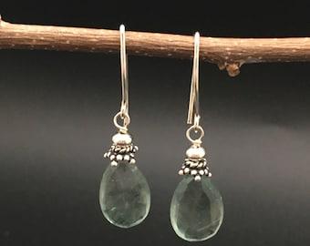 Green Fluorite Earrings, Green Stone Earrings, Fluorite Gemstone Earrings, sterling silver earrings, Earrings Under 25