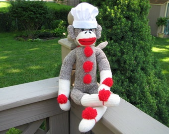 Sock Monkey Doll and Bakers Hat Gift Set Handmade Brown BopBo the Monkey